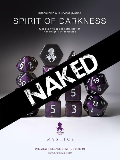 Naked Spirit of Darkness 14pc Dice Set With Kraken Logo