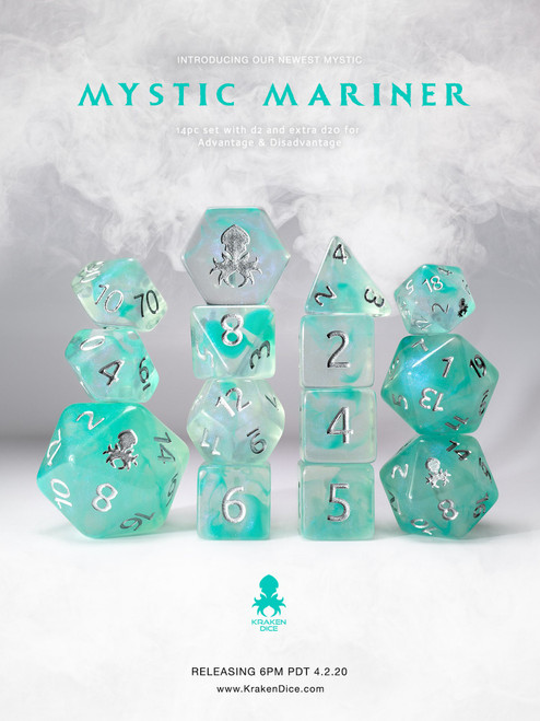 Mystic Mariner 14pc Polyhedral Dice set with Silver Ink
