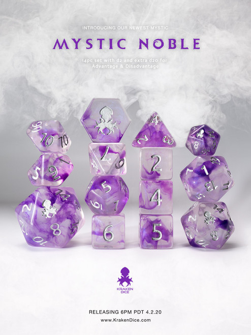 Mystic Noble 12pc Polyhedral Dice set with Silver Ink