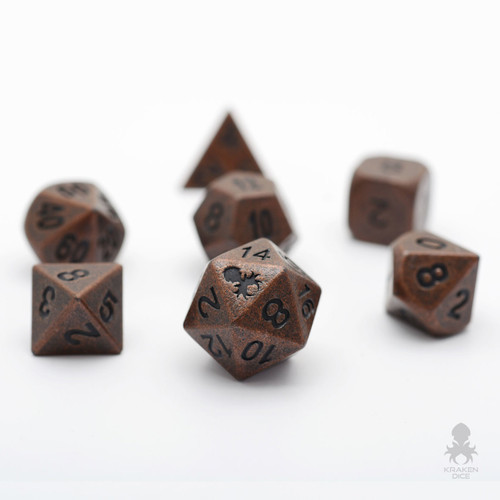 Dwarven Copper Metal RPG Dice Set With Iconic Kraken For Dungeons & Dragons
