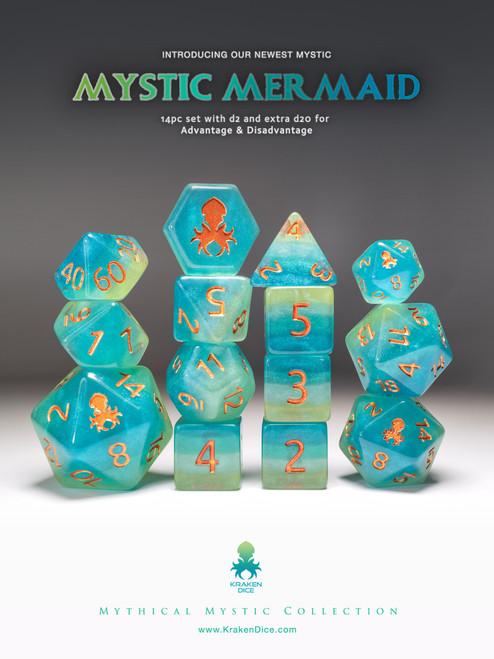Mystic Mermaid 12pc Copper Ink Dice Set With Kraken Logo