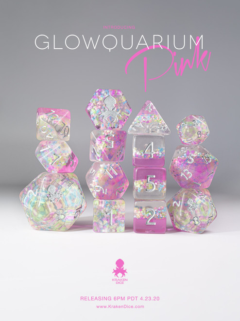 Glowquarium Pink 12pc Polyhedral Dice set with Glow in the Dark Particles