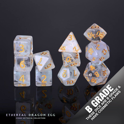 B Grade With Cosmetic Flaws Ethereal Dragon Egg 12pc Gold Ink Dice Set