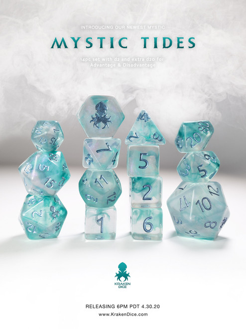 Mystic Tides 12pc Polyhedral Dice set with Metallic Blue Ink