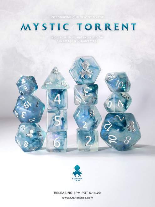 Mystic Torrent 12pc Polyhedral Dice set with Silver Ink