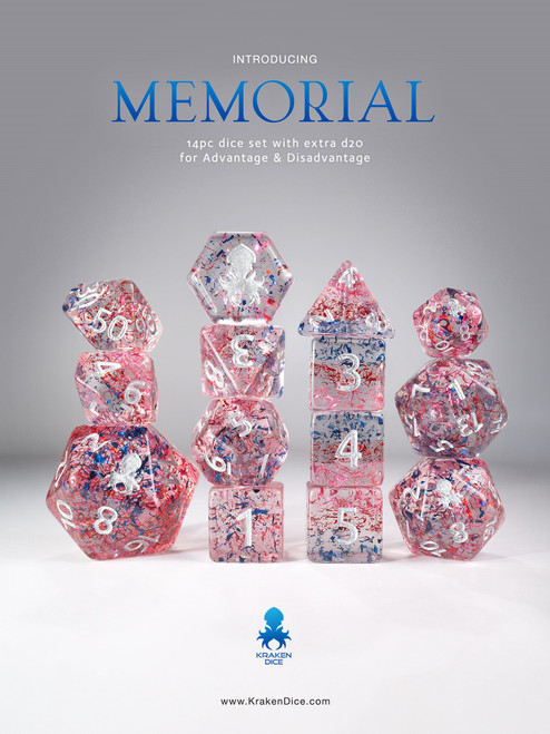 Memorial 14pc Silver Ink Limited Edition Dice Set  for TTRPGs