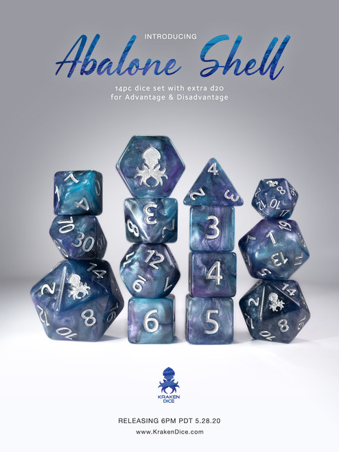 Abalone Shell 14pc Blue and Purple Silver Ink Dice Set