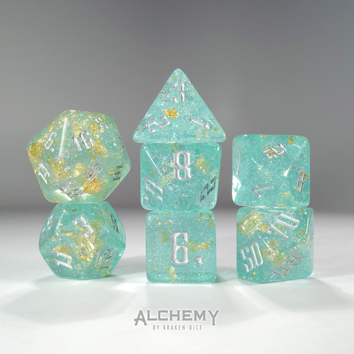 7pc Fragments of the Sun Glitter Teal with Silver Ink