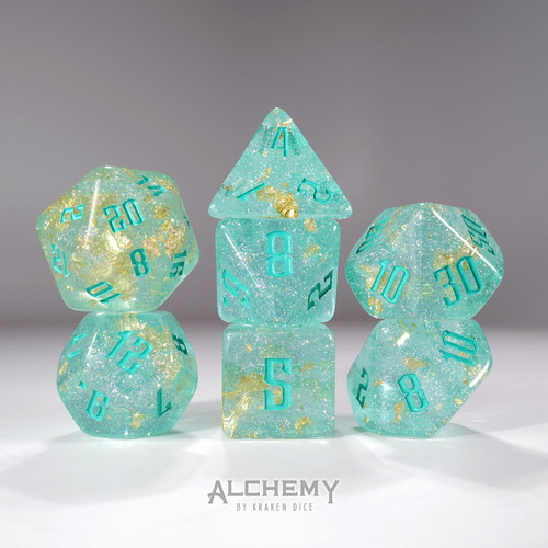7pc Fragments of the Sun Glitter Teal with Teal Ink