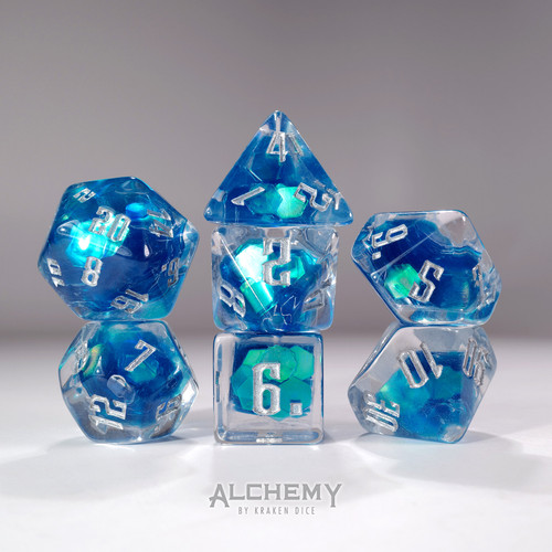 7pc Exotic Blue Galaxy  with Silver Ink by Alchemy Dice