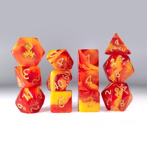 12pc Gummi Blood Orange Polyhedral Dice Set