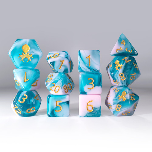 12pc Gummi Blue Raspberry Smoothie Polyhedral Dice Set