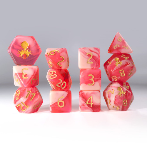 12pc Gummi Strawberry Smoothie Polyhedral Dice Set
