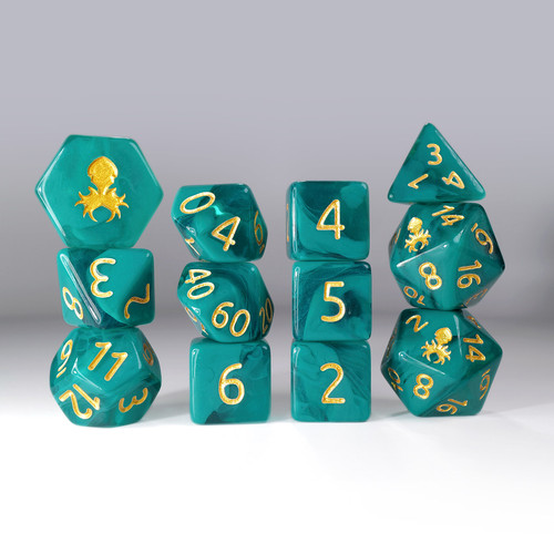12pc Gummi Melon Polyhedral Dice Set