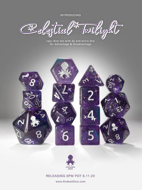 Celestial Twilight 14pc Silver Ink Dice Set With Kraken Logo