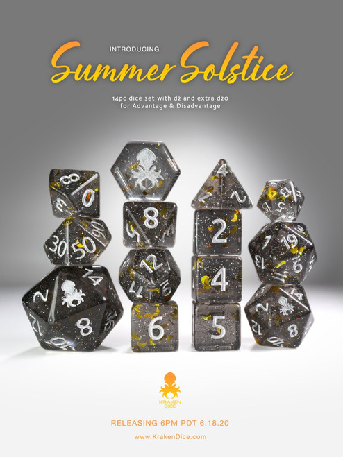 Summer Solstice 12pc Silver Ink Dice Set