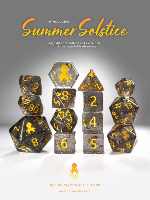 Summer Solstice 12pc Gold Ink Dice Set