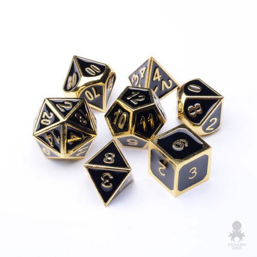 Pharaoh's Gold Dice With Black Enamel Inlayed