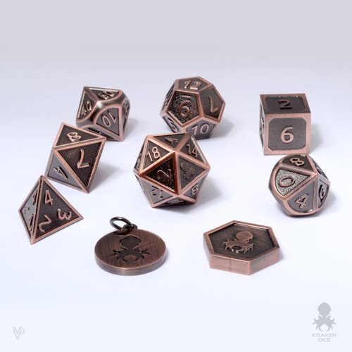 Carved-Cast  Copper Metal RPG Dice Set