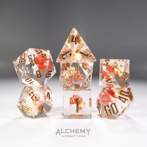 7pc Alchemist's Edge Pink Flowers with Copper Ink by Alchemy Dice