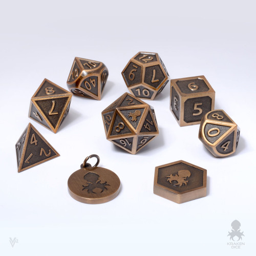Carved-Cast Brass Metal Dice Set