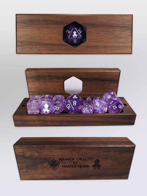 Kraken's Oracle Walnut Dice Vault by Master Monk