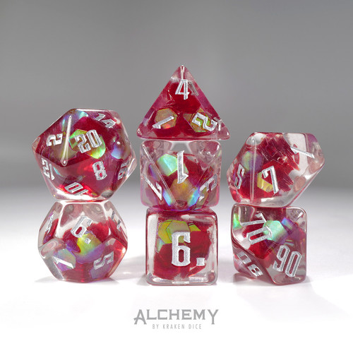 7pc Exotic Red Galaxy with Silver Ink by Alchemy Dice