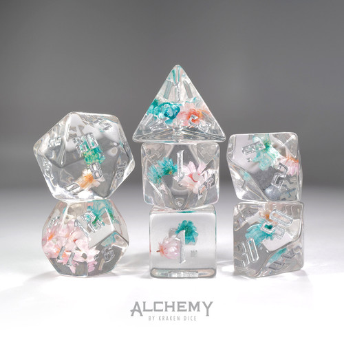 7pc Blue and Pink Flowers with Silver Ink by Alchemy Dice