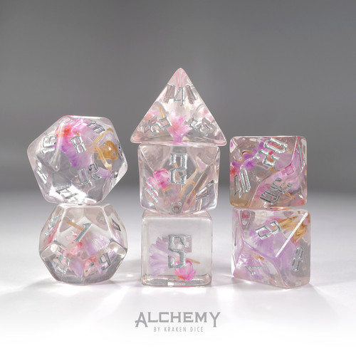 7pc Pastel Flowers with Silver Ink by Alchemy Dice