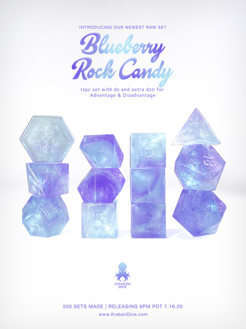 Kraken's Blueberry Rock Candy RAW 12pc Polyhedral Dice Set