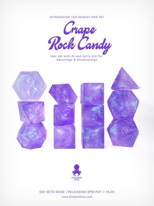 Kraken's Grape Rock Candy RAW 12pc Polyhedral Dice Set