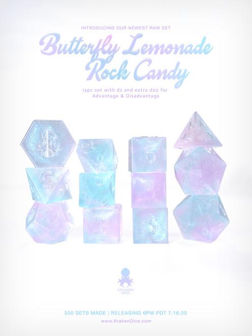 Kraken's Butterfly Lemonade Rock Candy RAW 12pc Polyhedral Dice Set