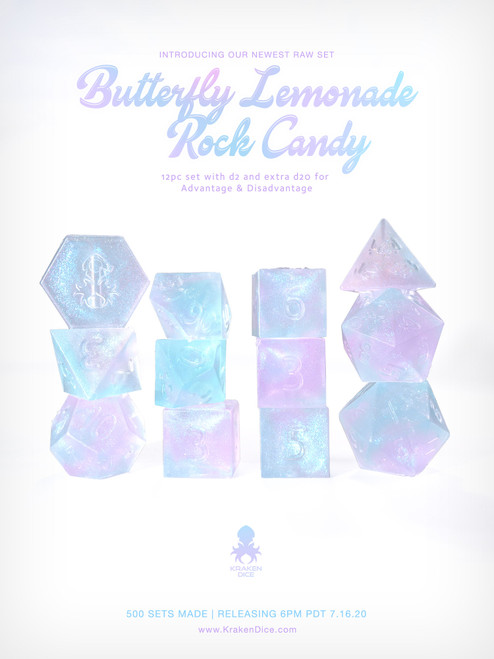 Kraken's Butterfly Lemonade Rock Candy RAW 12pc Polyhedral Dice Set