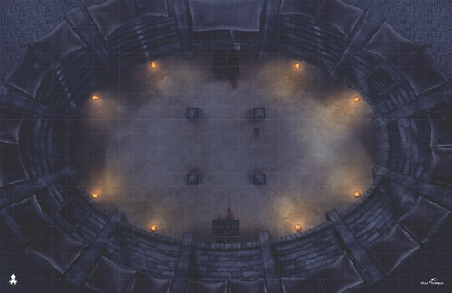Kraken Dice RPG Encounter Map Quick Mat- Combat Arena-Night by MapHammer