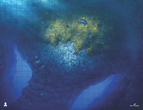 Kraken Dice RPG Encounter Map Quick Mat- Dragon's Lair- Underwater by MapHammer