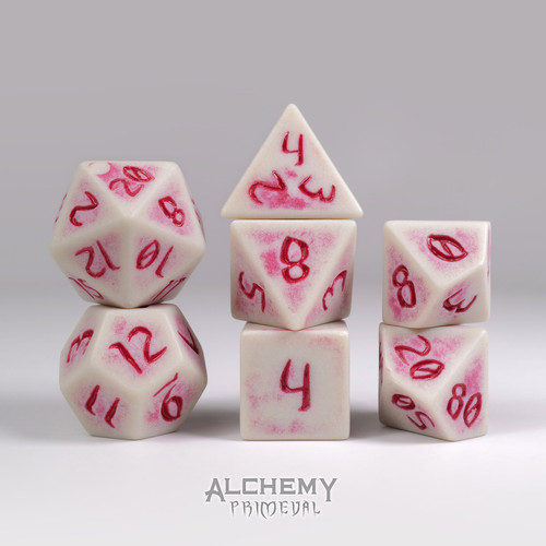 Primeval: Bone with Red Ink 7pc Custom Font Polyhedral Dice Set