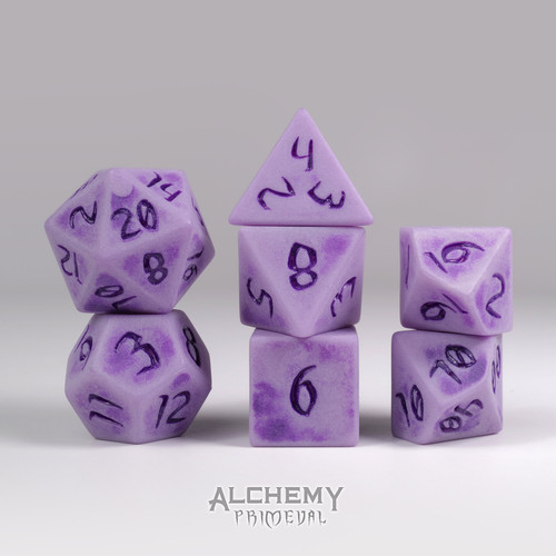 Primeval: Purple River Rock with Purple Ink 7pc Custom Font Polyhedral Dice Set