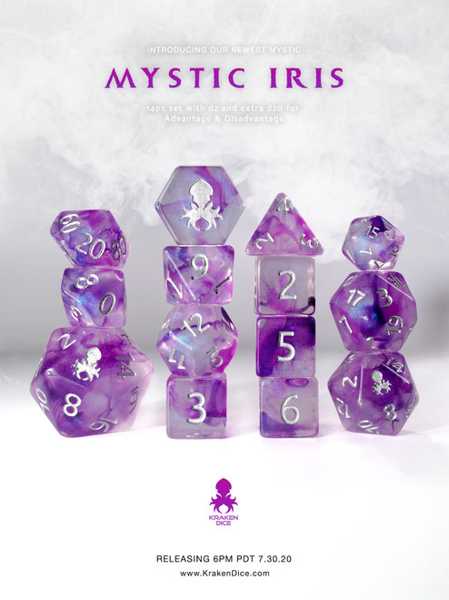 Mystic Iris 14pc Polyhedral Dice set with Silver Ink