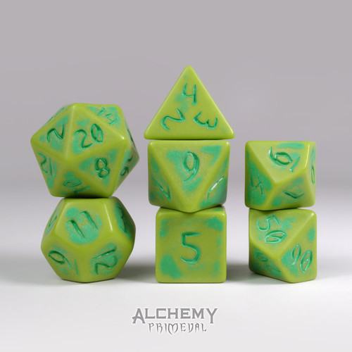 Primeval:Limestone with Green Ink 7pc Custom Font Polyhedral Dice Set