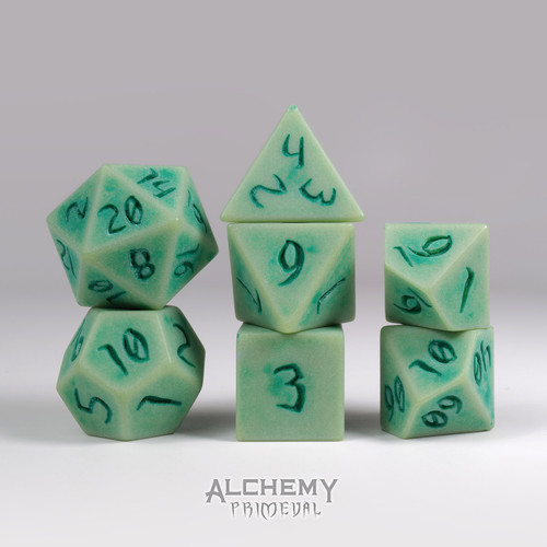 Primeval:Jade with Green Ink 7pc Custom Font Polyhedral Dice Set