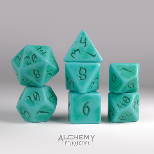 Primeval:Turquoise with Green Ink 7pc Custom Font Polyhedral Dice Set