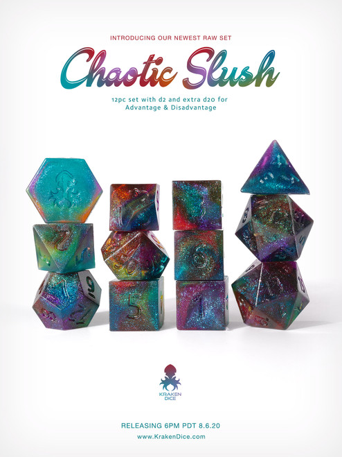Kraken's RAW Chaos Slush Rock Candy 12pc Polyhedral Dice Set