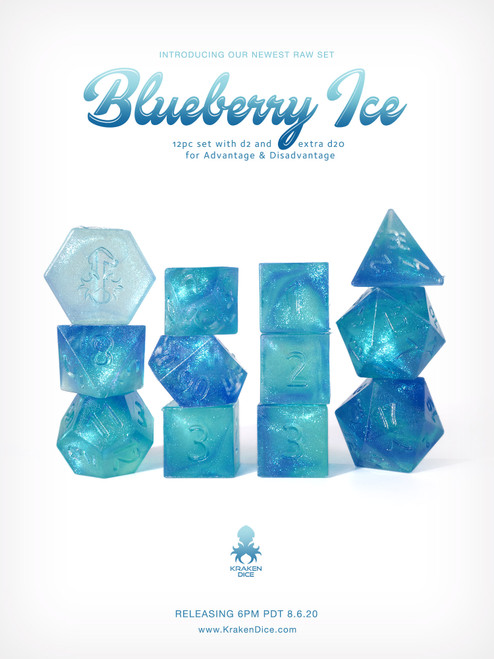 Kraken's RAW Blueberry Ice Rock Candy 12pc Polyhedral Dice Set
