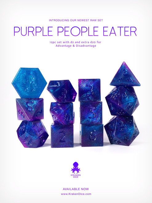 RAW Purple People Eater 12pc Glitter RPG Dice Set
