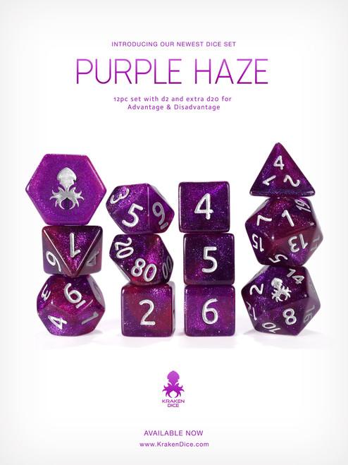 Purple Haze 12pc Glitter RPG Dice Set with Silver Ink