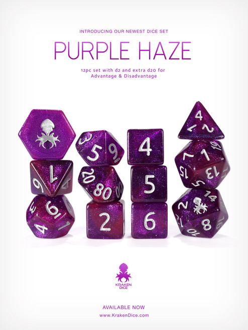 Purple Haze 12pc Glitter RPG Dice Set with Silver Ink