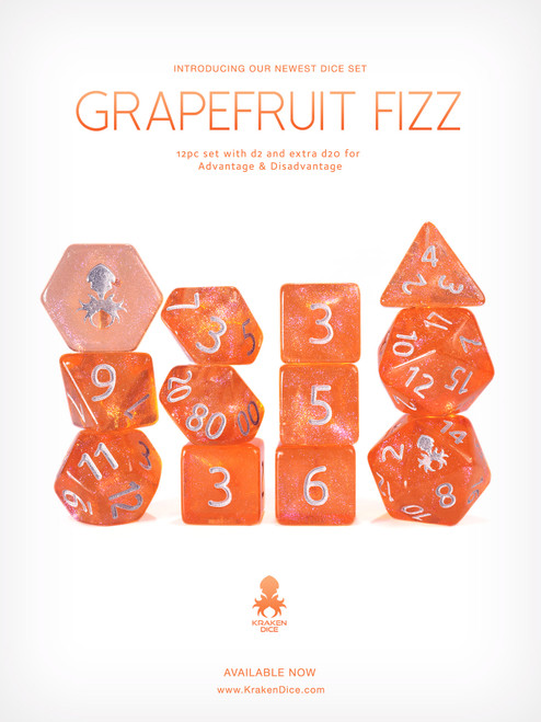 Grapefruit Fizz 12pc Glitter RPG Dice Set with Silver Ink