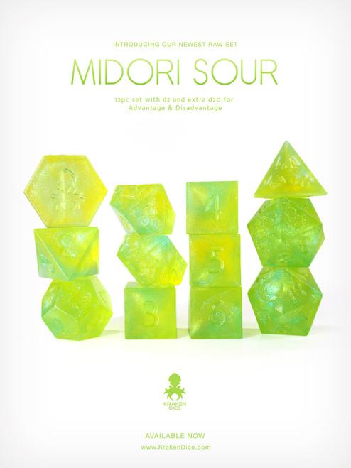 RAW Midori Sour 12pc Glitter RPG Dice Set