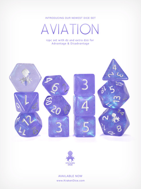 Aviation 12pc Glitter RPG Dice Set with Silver Ink