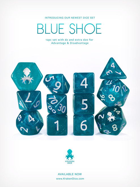 Blue Shoe 12pc Glitter RPG Dice Set with Silver Ink